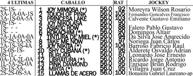 Gran Premio Mil Guineas G1 1600m césped. Hipódromo de San Isidro