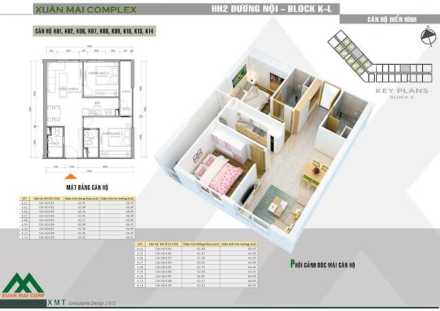 Thiết kế căn hộ 61m - Xuân Mai Complex