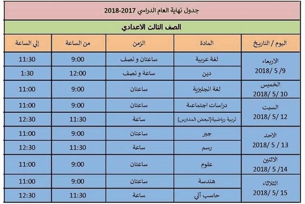 جدول امتحانات الصف الثالث الاعدادي 2018 الترم الثاني محافظة الاسكندرية