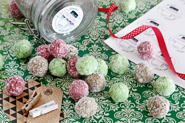 Treat jar with Christmas truffle dog treats, labels, tags, and ribbon