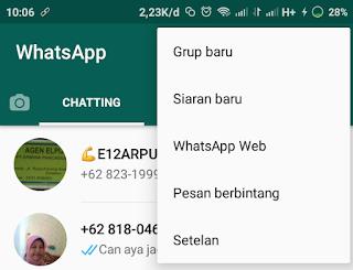 menu whatsapp web