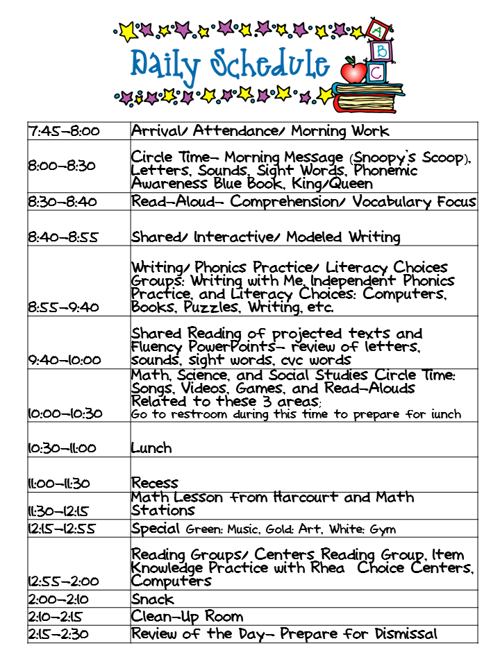 Kindergarten celebration daily schedule for Kindergarten timetable template