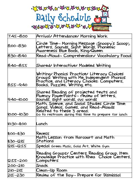 Kindergarten Celebration: Daily Schedule