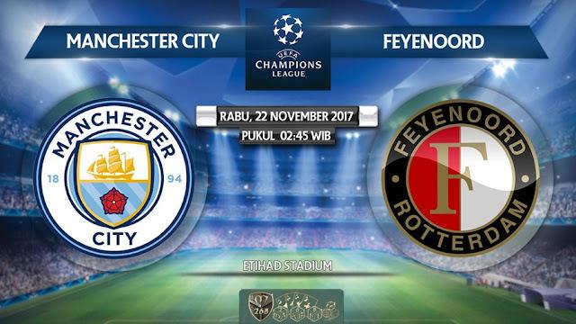 Prediksi Bola : Manchester City Vs Feyenoord , Rabu 22 November 2017 Pukul 02.45 WIB