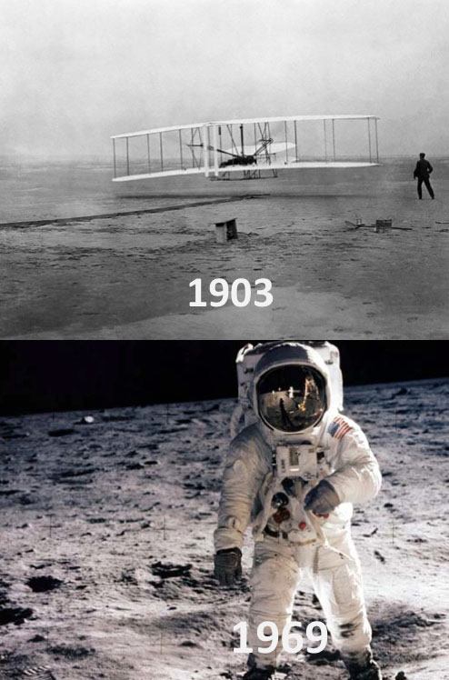 it only took us 66 years to go from kitty hawk to the moon