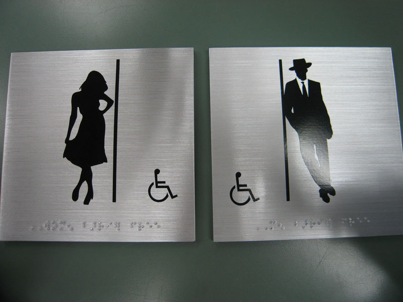 Unique washroom signs