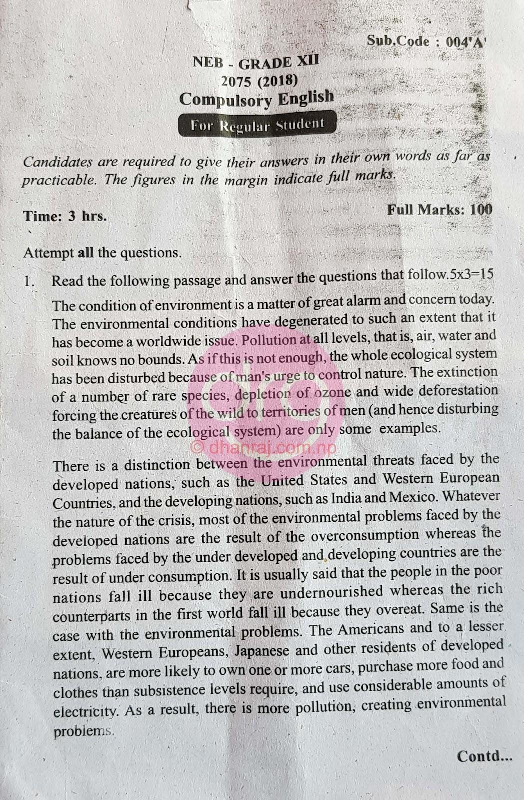 Compulsory English | Class 12 | Exam Paper 2075 [2018