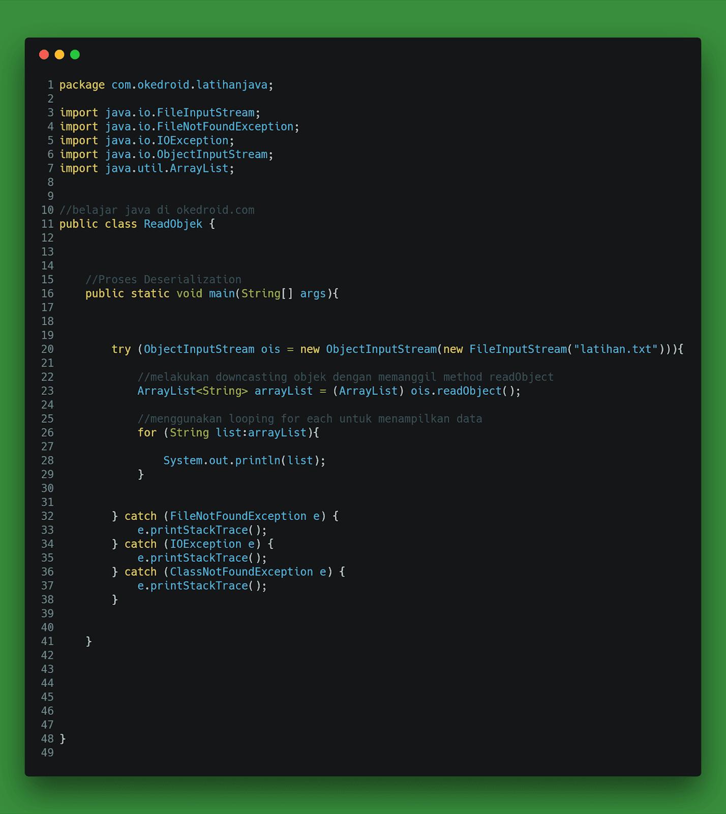 Contoh Code fungsi program  Proses Deserialization deserialisasi arraylist di java