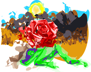 солнце, девушка, горы, цветок