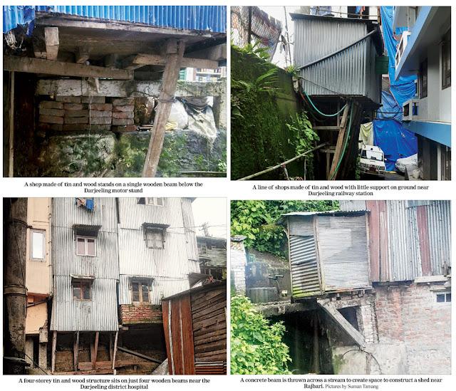 Pathetic construction of buildings in the Darjeeling hills