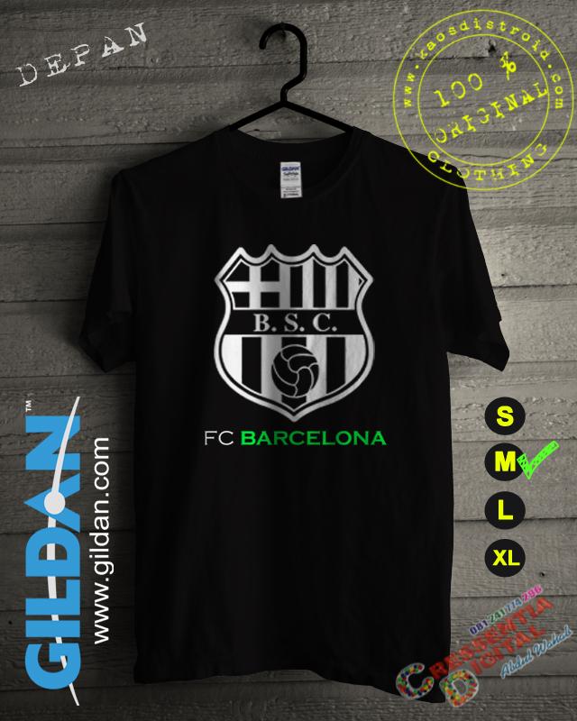 Baju Kaos DISTRO Desain Fc Barcelona Logo Warna Hitam