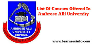 LIST OF COURSES OFFERED IN AAU