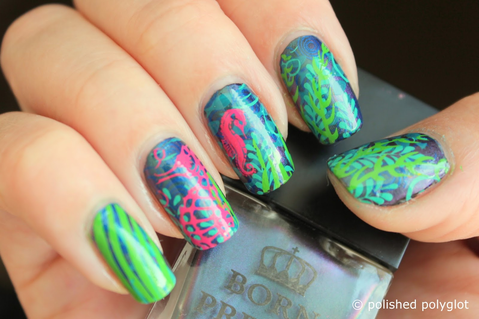 Nail art │Things in the water [layered stamping] / Polished Polyglot