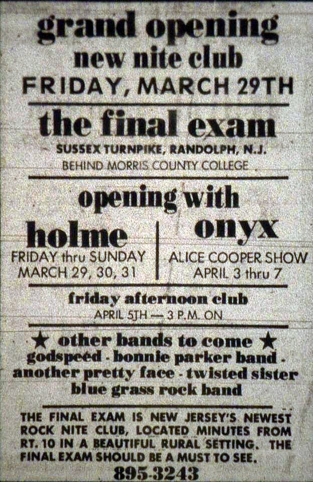 The Final Exam grand opening ad in Randolph, New Jersey