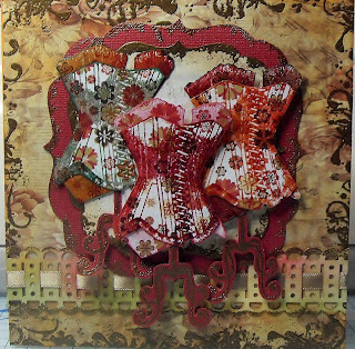 visible image stamps corset stamp Autumn inspired card