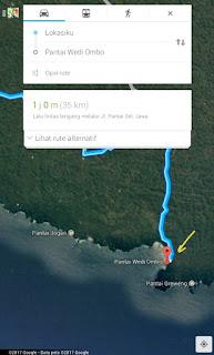 Google map pantai di gunung kidul