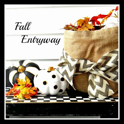 Vintage, Paint and more... fall entry with black, white and gold painted pumpkins.