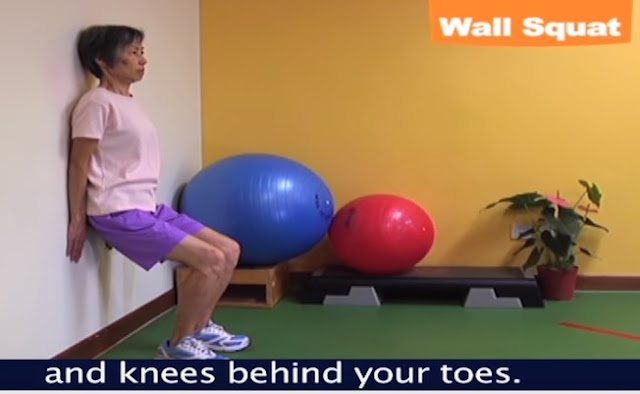Stretching Wall Squat exercise