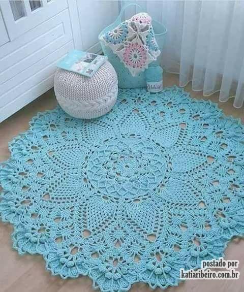 Tapete de croch azul katia ribeiro croch moda e decora o for Clases de tapetes
