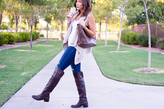 Old Navy Tan Sweater vest with over the knee boots for Fall