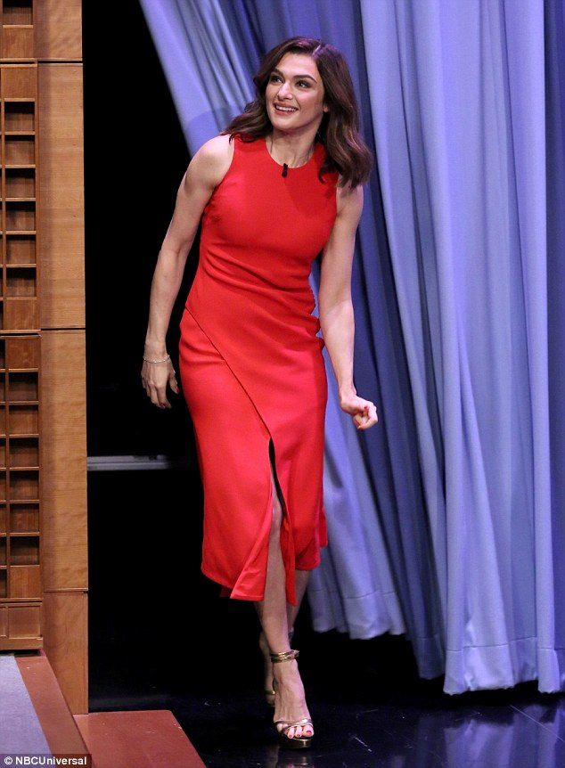 Rachel Weisz at The Tonight Show with Jimmy Fallon, Rachel Weisz in red pencil dress, Hollywood news
