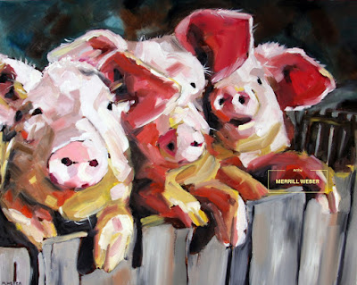 Meilleurs Amis or Best Friends oil painting of three pigs by Merrill Weber
