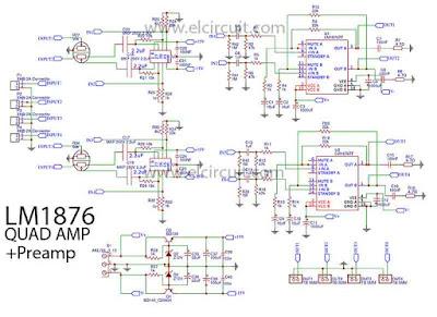 Schematic LM1876 Quad (4 Channel) Amplifier Gainclone High-End