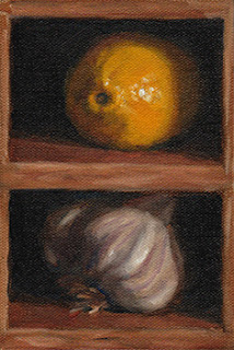 Oil painting of a lemon and a garlic bulb in vertical pigeon holes.