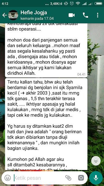 Pesan pesan Hefie Setiarini Al hafizhah