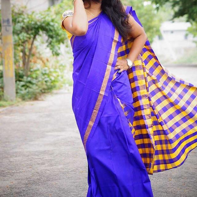 Uppada Traditional Style Checks Pure Silk Saree