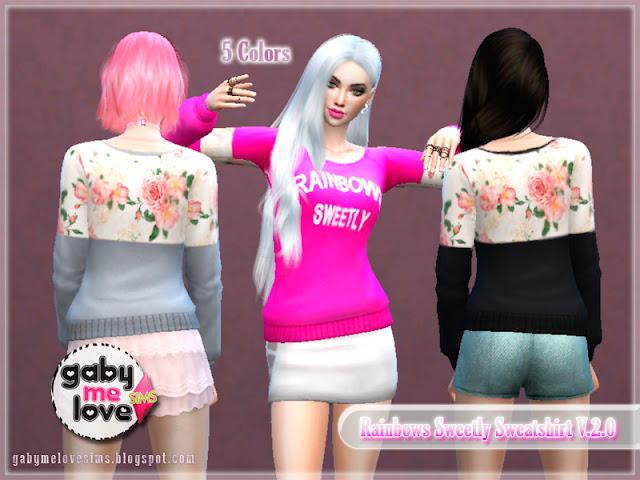 Rainbows Sweetly Sweatshirt V.2.0 ~ Asian Fashion, Sims 4 - Gabymelove Sims