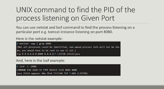 UNIX command to find the PID of the process listening on specific port