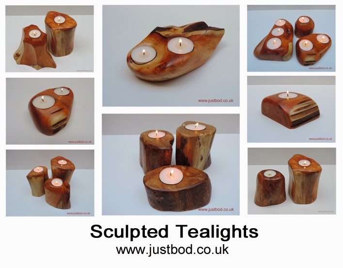 Hand sculpted wooden tealight holders