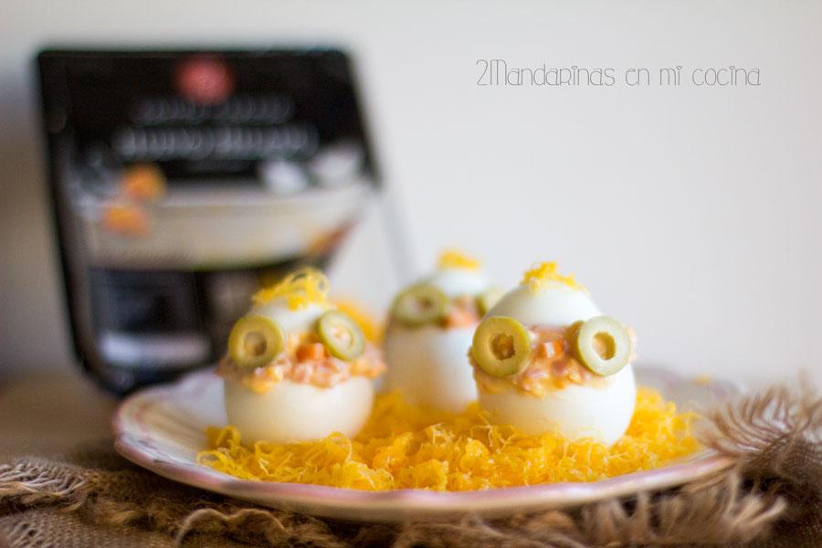 como preparar huevos rellenos con forma de pollito