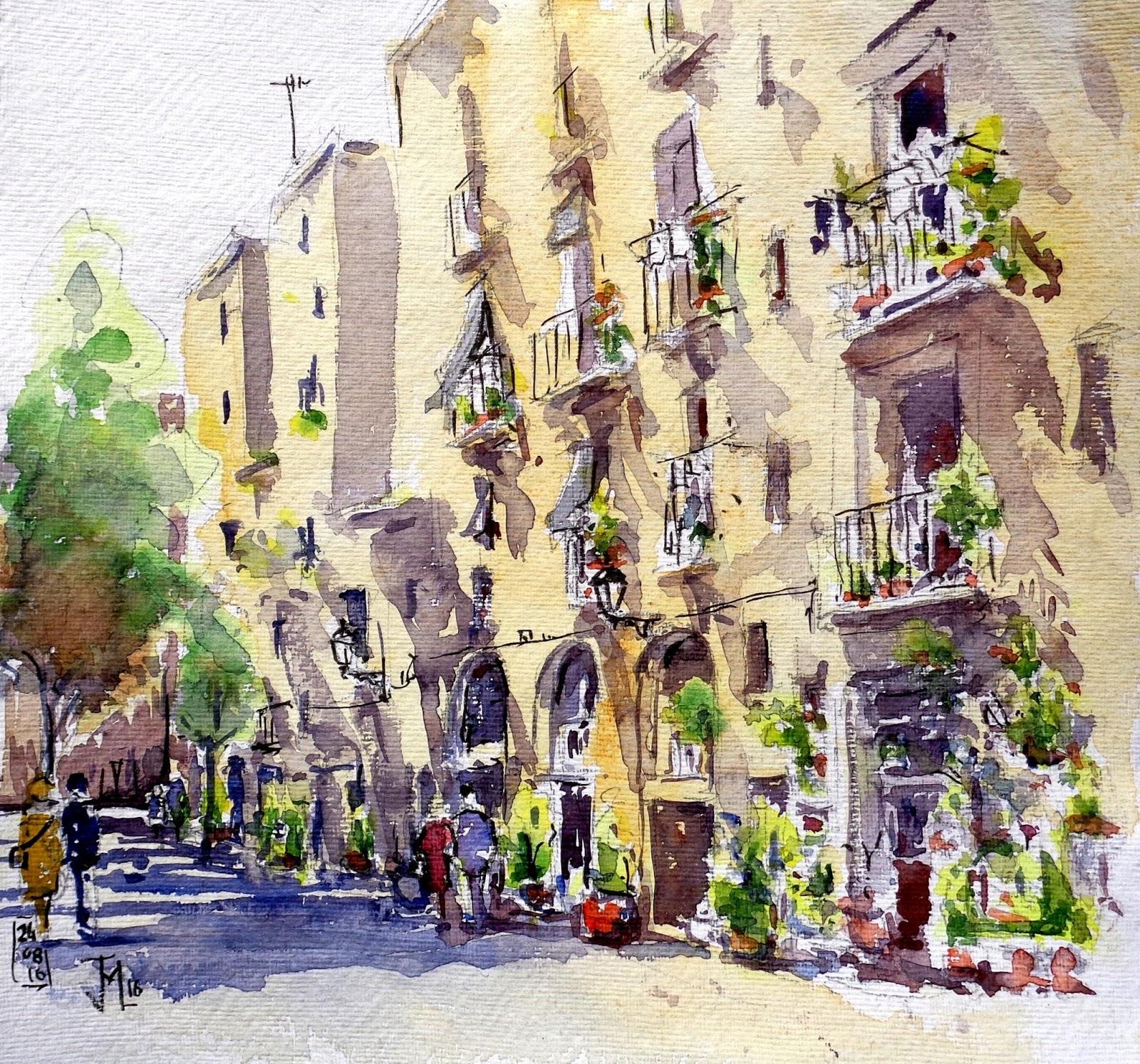 Joshemari larra aga acuarelas paseo en el barrio de la - Casco antiguo de barcelona ...