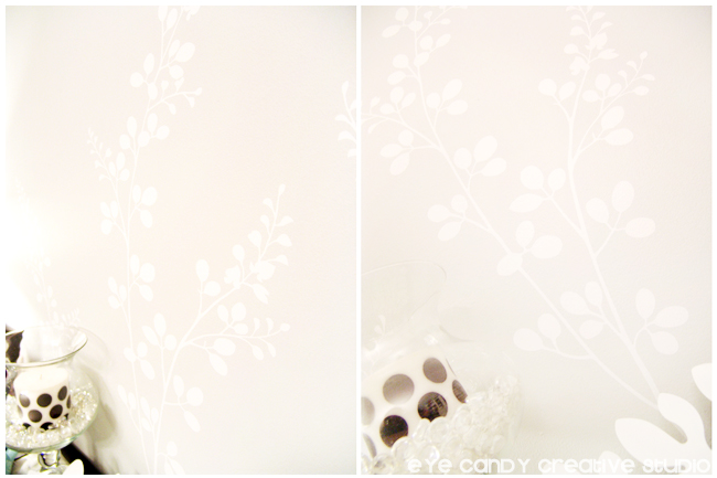 smell the flowers decal, white vinyl design, dining room wall, floral design