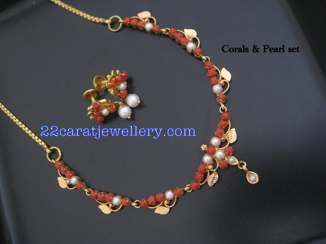 22 Carat Gold Coral Pearls Necklace Set Jewellery Designs
