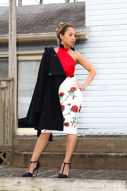 red roses pencil skirt