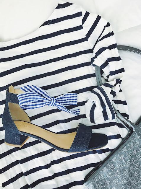 Naomi Ankle Scarf-Tie Denim Block Heels