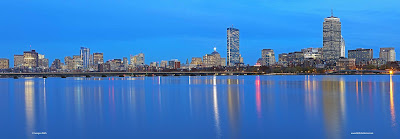 Magical Boston skyline panorama night photography
