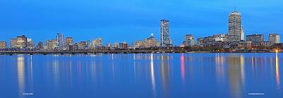 Magical Boston skyline panorama night photography