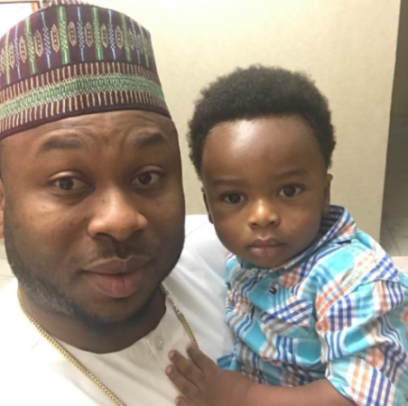 Tonto Dikeh's estranged hubby, Churchill, celebrates Father's Day with a throwback photo of himself with their son