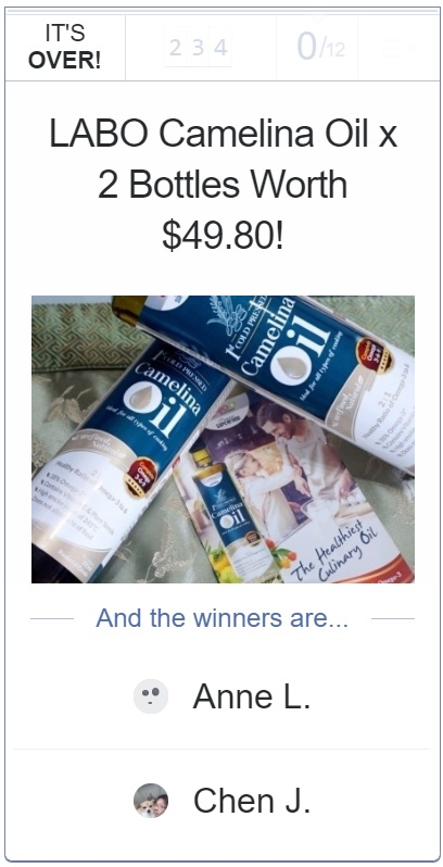 labo premium superfood camelina oil giveaway winners