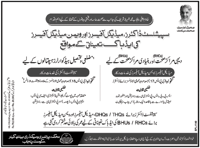 MBBS Doctors Jobs in Primary and Secondary Healthcare Department Punjab Jobs May 2016