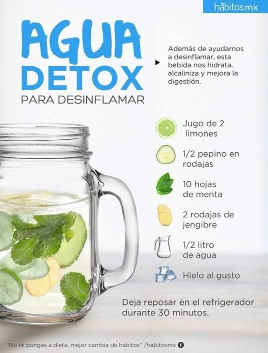 agua detox con jengibre y limon