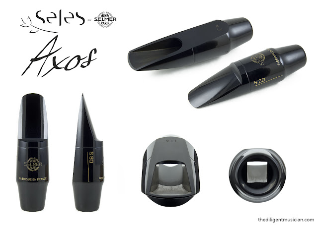 Multiple view composite image of the S80 mouthpiece included with SeleS Axos Alto Saxophone
