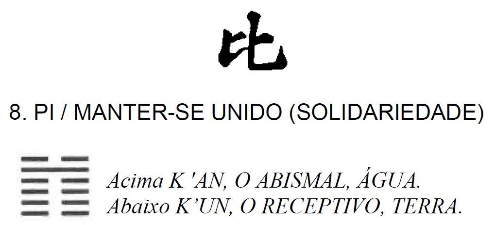 Imagem de Pi, Manter-se Unido (Solidariedade), oitavo dos 64 hexagramas do I Ching, o Livro das Mutações