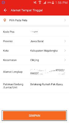 cara mengisi alamat tempat tinggal di aplikasi akulaku