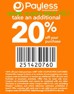 Payless Shoes coupons march 2017