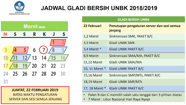 Jadwal Resmi Geladi Bersih UNBK 2019 Revisi Terbaru